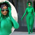 Cardi B goes green in Paris, rocks meme-worthy catsuit with frilly bonnet